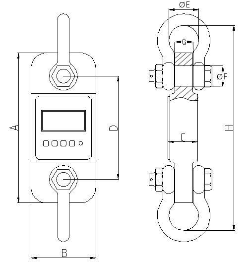 Technische Zeichnungen der Zugmesslasche / Kraftmesslasche PCE-DDM