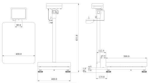 Abmessungen der Eichfähige Plattformwaage PCE-SD C Serie